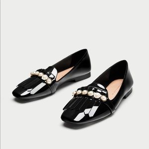 •Zara• Black Patent Penny Loafers with Pearls